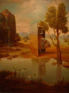 Картина дверь. холст масло 30х40